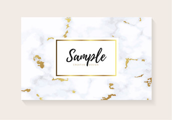 Luxury business cards with marble texture and gold. design for cover, banner, invitation, wedding, card Branding and identity Vector illustration..