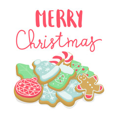 Isolated winter Christmas cookies lettering