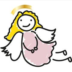 Frohe Weihnachten, Christkind, süßer Engel mit goldenen Haaren und Heiligenschein, xmas, x mas, x-mas