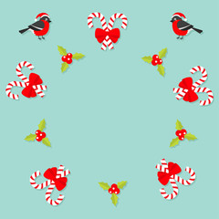 Merry Christmas Bullfinch bird. Candy Cane stick with red bow. Holly berry icon. Mistletoe. Green leaf Three red berries. Round frame. Flat design. Blue background
