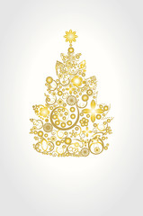 Abstract concept golden Christmas tree made by decorations