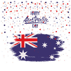 happy australia day flag poster with colorful confetti background vector illustration