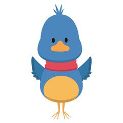 Cute bird with scarf cartoon icon vector illustration graphic design