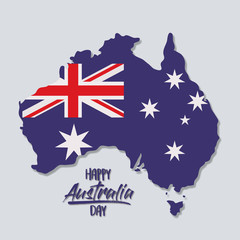 happy australia day poster with australia map with flag of australia day in light blue background vector illustration