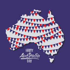 happy australia day poster with festoons in australia map in dark blue background vector illustration