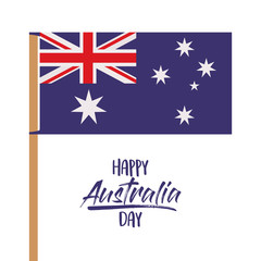 happy australia day poster with australian flag in pole over white background vector illustration