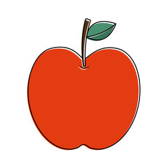 apple fruit fresh food health icon vector illustration