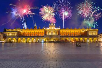 New Years firework display in Krakow, Poland