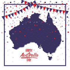 happy australia day poster with dark blue frame and australian map over white background with colorful confetti vector illustration