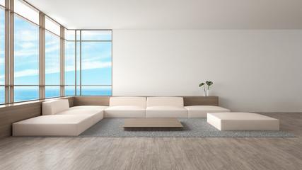 Modern interior living room wood floor sofa set sea view summer 3d rendering. minimal loft white wall living room
