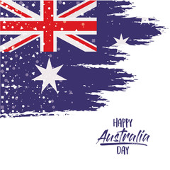 happy australia day poster with australian flag in brush strokes over white background vector illustration