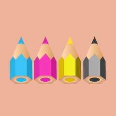 A group of four little pencils showing CMYK colors. Vector illustration