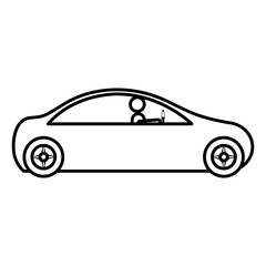 modern car with driver silhouette vector illustration design
