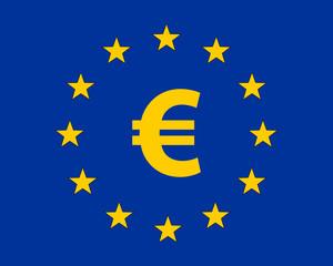Yellow Euro Symbol in European Union (EU) Flag