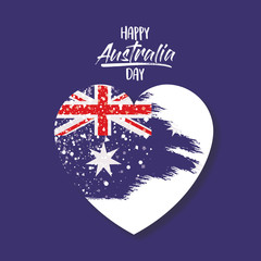 happy australia day poster with australian flag on heart in dark blue background vector illustration