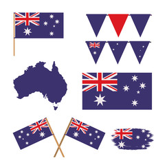 icons set of australia day with colorful australian flags maps and festoons vector illustration