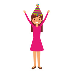 cartoon young girl standing smiling with arms up and birthday hat vector illustration