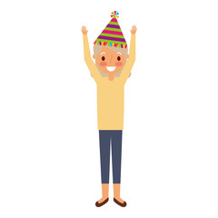 grandma happy wearing birthday hat with arms up vector illustration