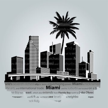 Miami skyline. Vector illustration