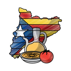 catalonia flag shape map nation independence and cream food tradition vector illustration