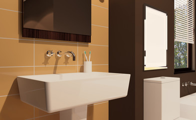 Scandinavian bathroom, classic  vintage interior design. 3D rendering. Empty picture