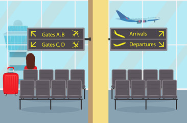 Waiting room at the airport seat, a woman passenger with a suitcase, information signs. Plane taking off and control tower outside the window. Cute vector illustration.