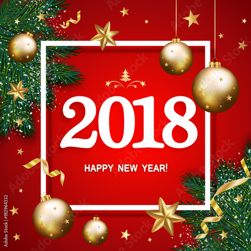 happy new year 2018 banner with pine branches decorated gold stars and bubbles on red