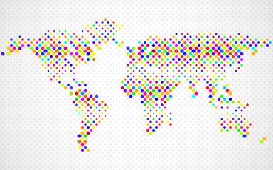 Abstract world map of colorful circles. Vector