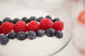 Fruit ice cream in bowl