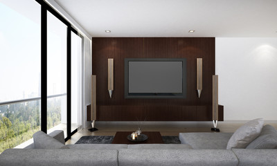 THe living room interior design and Lcd tv and home theater and cityscape view background