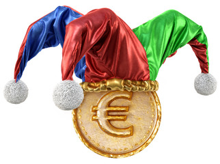 Wall Mural - Gold coin with euro sign in jester hat. isolated on white background. 3d illustration.