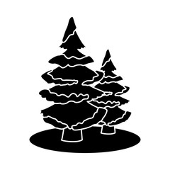Trees pines with snow icon vector illustration graphic design