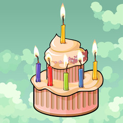 cartoon cake with six candles burning in the sky