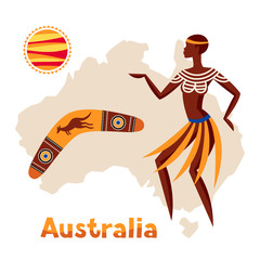 Illustration of Australia map with woman aboriginal and boomerang.