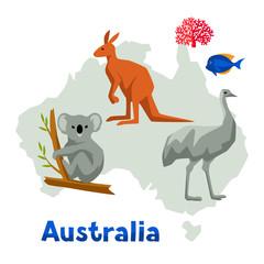 Illustration of Australia map with wildlife animals.