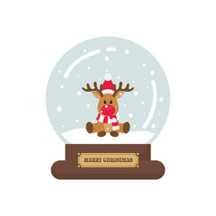 cartoon cute christmas snowglobe with christmas deer