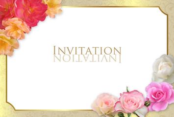 イベントカード 薔薇フレーム ゴールド ハガキサイズ