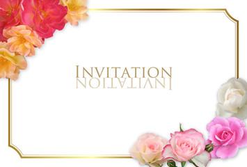 イベントカード 薔薇フレーム 金縁 ハガキサイズ