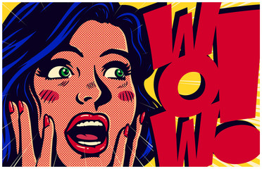 Acrylic Prints Pop Art Vintage pop art style comic book panel with surprised excited woman saying wow looking at something amazing retro vector poster design illustration