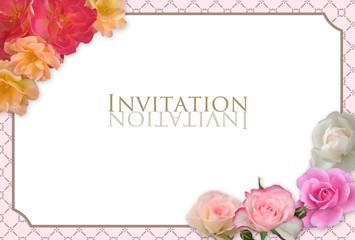 イベントカード 薔薇フレーム ピンク ハガキサイズ