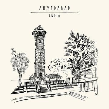 Hutheesing (Hathi Singh Wadi) Jain temple in Ahmedabad, Gujarat, India. Ornate tower and trees. Travel sketch art. Vintage hand drawn postcard in vector