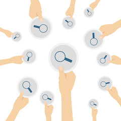 Hand hält Symbol - Lupe - suchen