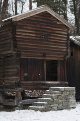 Old wooden farm houses in winter