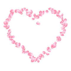 Pink petals heart isolated. EPS 10 vector
