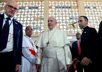 Pope Francis arrives to visit the Dhaka Cathedral in Dhaka