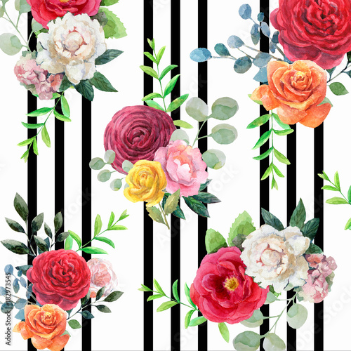 "Black And White Flowers Wallpapers Hd: ""Pattern With Watercolor Flowers And Black Stripes. Orange"
