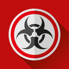Biohazard sign icon in flat style on red background, danger toxic emblem, vector design illustration for you project