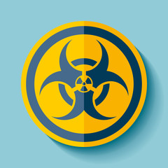 Biohazard sign icon in flat style on blue background, denger toxic and radiation emblem, vector design illustration for you project