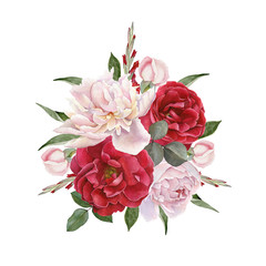 Floral card. Bouquet of watercolor roses and white peonies. Illustration