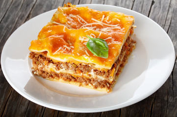 a portion of delicious italian lasagna